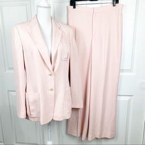 Lauren Ralph Lauren Blazer Pant Suit Set 100% Silk